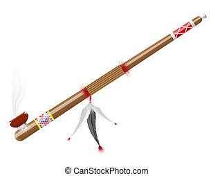 tubo, Fumar, norteamericano, indios, Ilustración