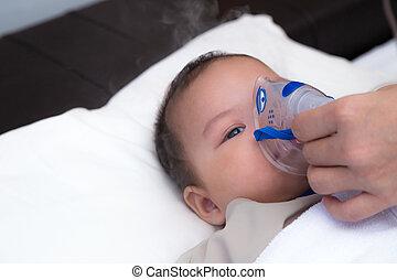 poco, niño, inhalación, máscara