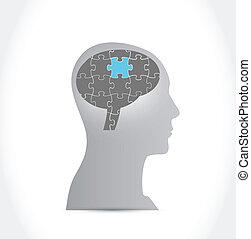 puzzle brain illustration design