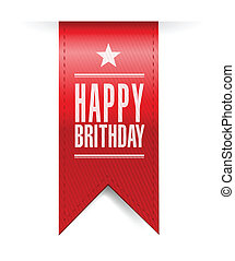 happy birthday banner illustration design over a white...