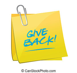 give back post memo illustration design over a white...