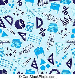 mathematics icons blue seamless pattern eps10