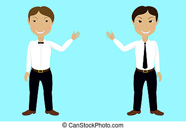 smiling man - two smiling man with tie on white shirt...