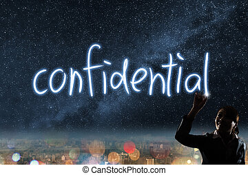 Concept of confidential - Concept of China, silhouette asian...