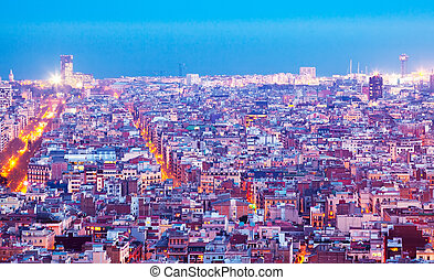 night view of Barcelona - night top view of Barcelona