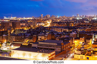 night top view of Badalona and Barcelona Catalonia, Spain