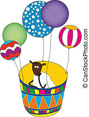 Cute sheep looking for adventures and travel in 2015