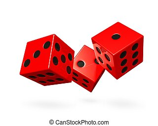 Red Rolling Game Dice - Three shiny red game dice rolling or...