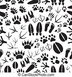 animal footprints black and white seamless pattern eps10