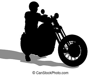 Big bike - Motorcyclist in sportswear on white background