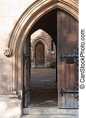 Rustic doorway - Heavy ornamented doorway leading to a...