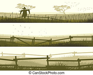 Banner farm fields with fence. - Set of horizontal vector...