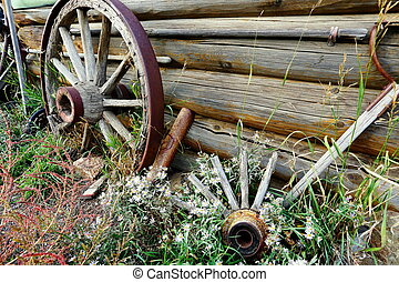 old wagon wheels with daisies