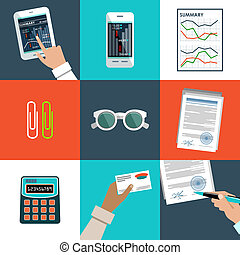 Flat vector set of office things. - Image of the set of...