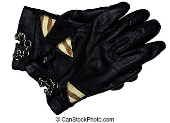 Black leather gloves - black leather glove isolated on white...