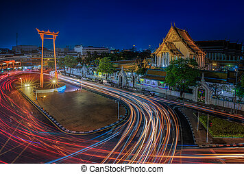 Suthat Temple and the Giant Swing at Twilight Time, Bangkok,...