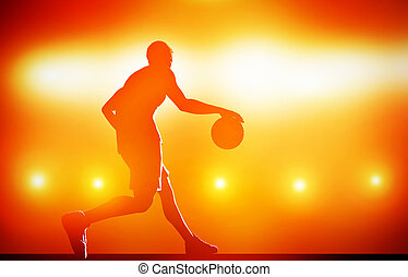 Basketball player silhouette dribbling with ball on red...