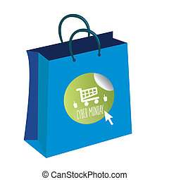 cyber monday - a blue bag with a green round icon with text...