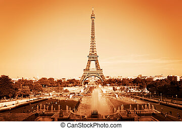 Eiffel Tower and fountain, Paris, France Vintage, monochrome...