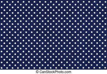escuro, azul, tecido, branca, polca, pontos