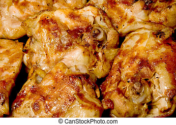 Barbeque Chicken Thighs - A pile of freshly cooked Barbeque...