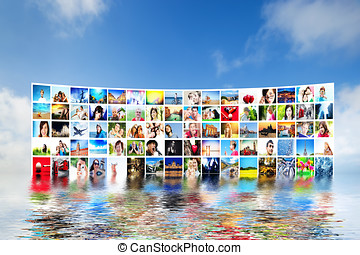 Pictures display on wide monitors, screens. Multimedia...