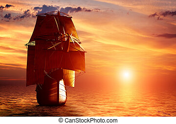 Ancient pirate ship sailing on the ocean at sunset. In full...