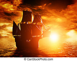 Ancient pirate ship sailing on the ocean at sunset In full...