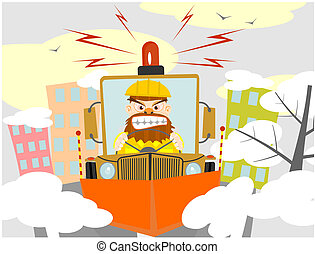 Snowplough. Vector illustration without gradients on one...
