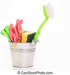 Cleaning sponges in a silver pail isolated on a white...