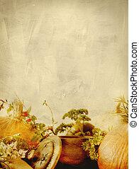 Background texture with pumpkins, carrots, seeds, butternut...