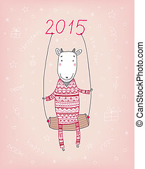 goat - happy cute goat, in a trendy jumpsuit, swinging on a...