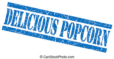 delicious popcorn blue grunge stamp isolated on white
