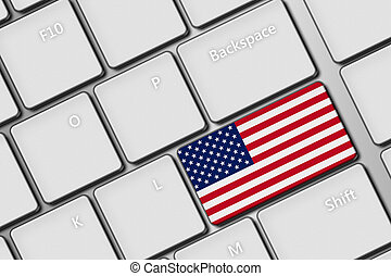 computer keyboard with United States of America flag button...