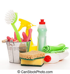 Bright colorful cleaning set on a wooden table - Bright...
