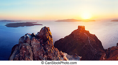 Cliff and volcanic rocks of Santorini island, Greece. View...