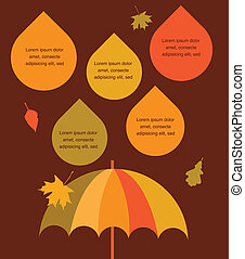 autumn time. umbrella with rain drops  , place for your text