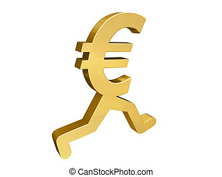 Euro Running Past - A gold Euro symbol with legs running...