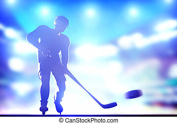 Hockey player shooting on goal in arena night lights -...