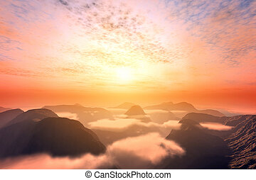 View from above clouds on mountains and sunset sky. Romantic...