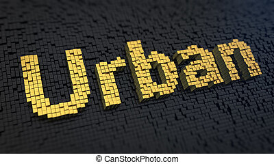 Urban cubics - Word 'Urban' of the yellow square pixels on a...
