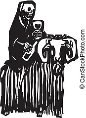 Death on a Goat - Woodcut style expressionist image of death...