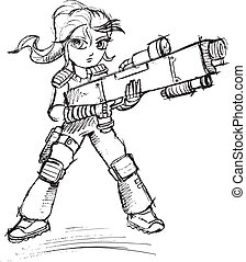 Warrior Soldier Sketch Vector
