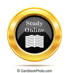 Study online icon. Internet button on white background.
