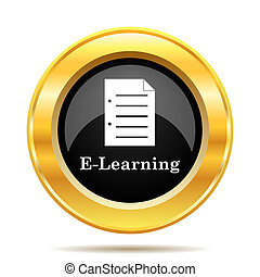 E-learning icon. Internet button on white background.
