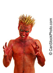 Red devil - Male actor playing role of daemon against white...