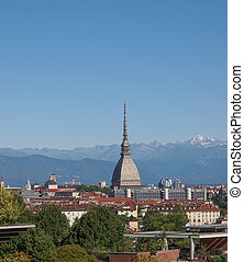 Turin view - Turin skyline panorama seen from the hills...