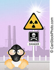 child in gas mask for radiation risk - illustration of child...