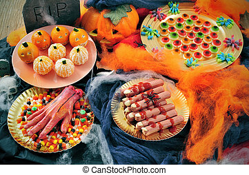 Halloween food - some plates with Halloween food, such as...