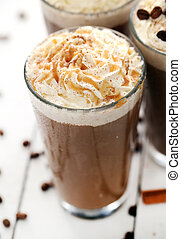 Ice coffee with whipped cream - Closeup image of ice coffee...